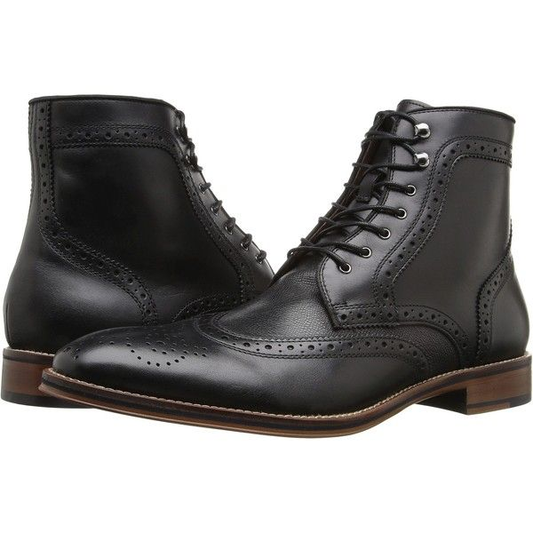 Johnston & Murphy Conard Wingtip Boot (Black Italian Calfskin) Men's... (525 RON) ❤ liked on Polyvore featuring men's fashion, men's shoes, men's boots, black, mens ankle boots, mens black lace up boots, mens wing tip boots, mens black wingtip shoes and mens short boots
