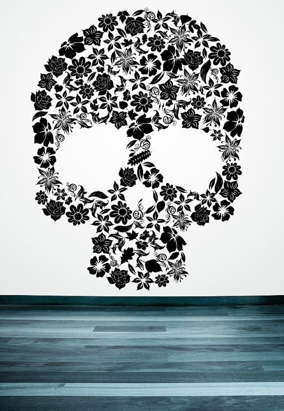 Skull of flowers leaves vinyl decal by vinylwalladornments