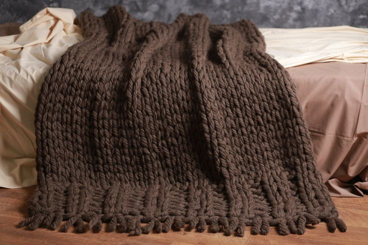 plaid knitted nature brown merino wool 50 x80 chunky knit blanket pinterest wool plaid. Black Bedroom Furniture Sets. Home Design Ideas