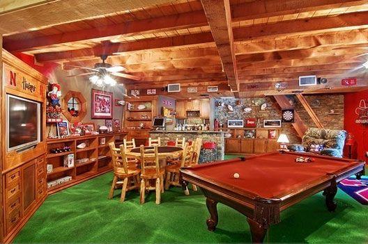 Rustic Man Cave Basement : Basement includes pool table bar poker wide