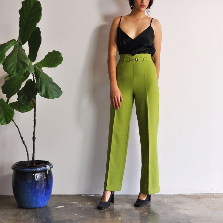 Lime Green Pants 90s Minimal Trousers High Waist Pants