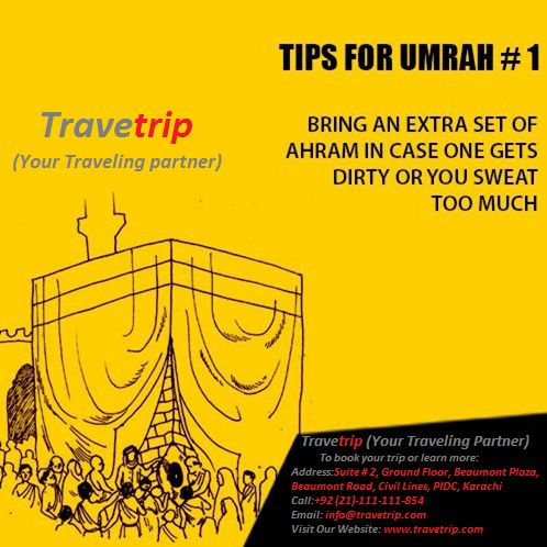 If you Are Planning To ‪#‎Perform‬ Umrah.There Are Such Travelling Tips That Are Very Useful While Performing ‪#‎UMRAH‬.. May Allah give us all an opportunity to perform #Umrah! Plan Your Umrah With Travetrip At A Competitive Price .We Got The Best Packages For You..... To book your trip or learn more:  Address:Suite # 2, Ground Floor, Beaumont Plaza, Beaumont Road, Civil Lines, PIDC, Karachi Call:+92 (21)-111-111-854 Email: info@travetrip.com Visit Our Website: www.travetrip.com