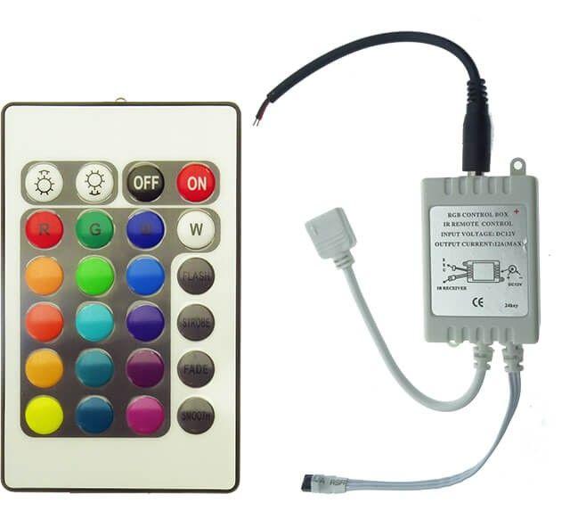 Controllerul RGB 6A pentru banda LED de 12V este proiectat pentru a administra jocul de lumini a 5 metri de banda LED RGB. Este dotat cu 24 taste pentru maxima flexibilitate in programe.