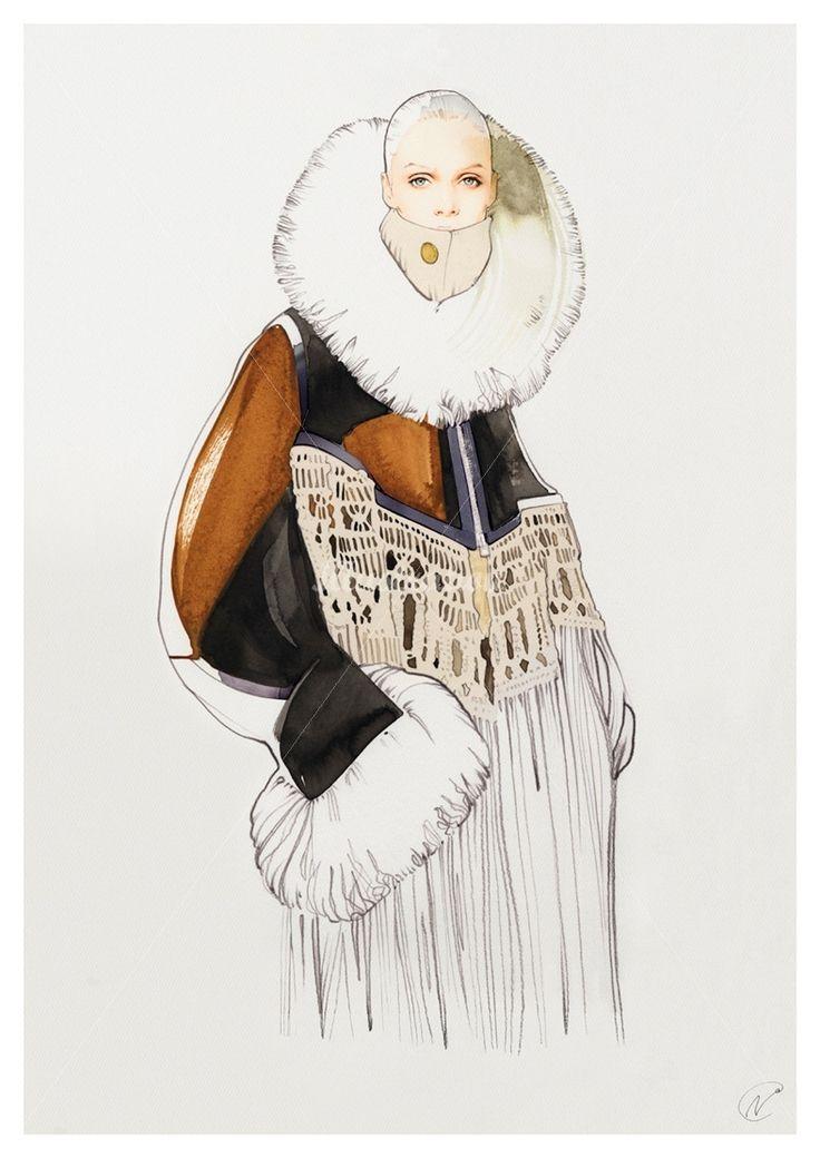Sacai fashion illustration by nuno dacosta for California fashion designers directory