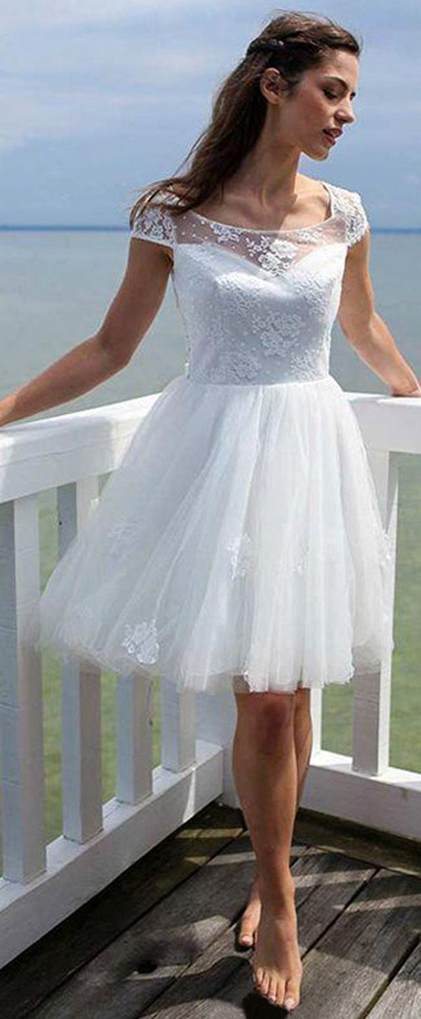 Charming Tulle & Satin Scoop Neckline A-Line Short Wedding Dresses ...