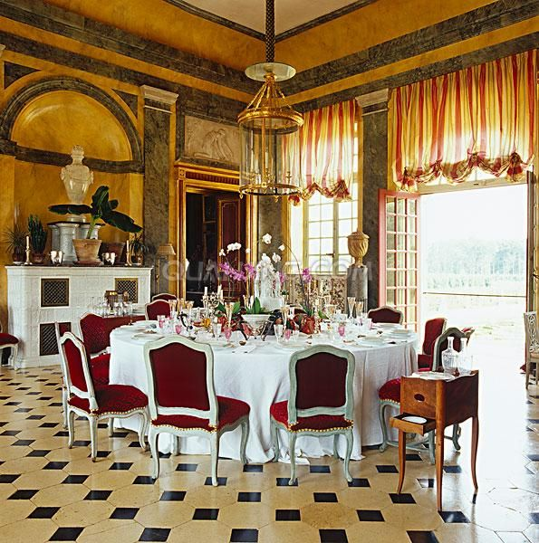 dining room at French chateau of Jacques Garcia