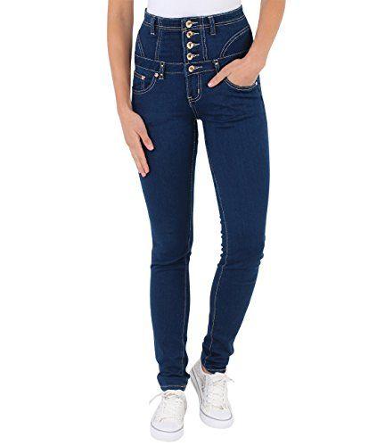 KRISP® Femmes Jean Slim Taille Haute Stretch Sexy Boutons Multiple Dorés Zip au Dos