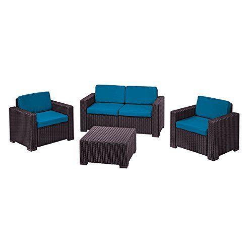 turquoise replacement 8 piece seat cushions set for keter allibert california outdoor patio set - Garden Furniture 8 Piece