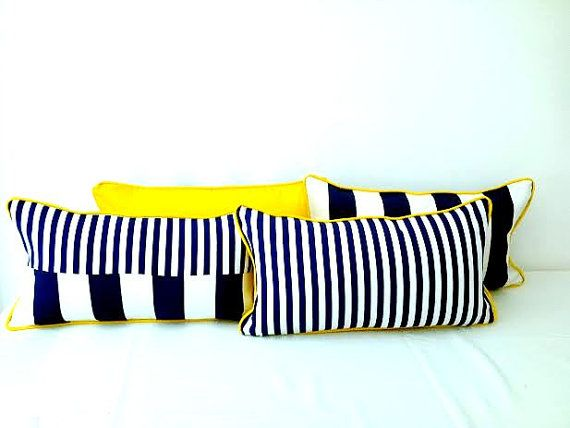 Small Nautical Throw Pillow Wide and Narrow by CushionsandMore