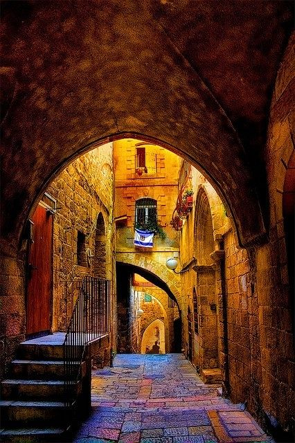 Alley in the Jewish Quarter ~ Old City Jerusalem... the colors in the pic are great.  I wonder if they've been enhanced ??  beautiful spot.