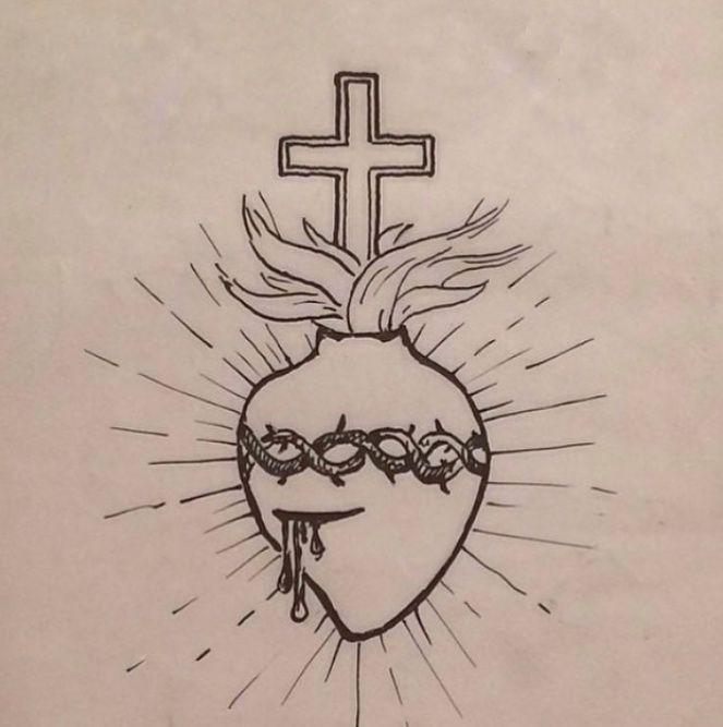 Desenho retirado do perfil da Florence Welch no Instagram. Representa o Sagrado Coração de Jesus.