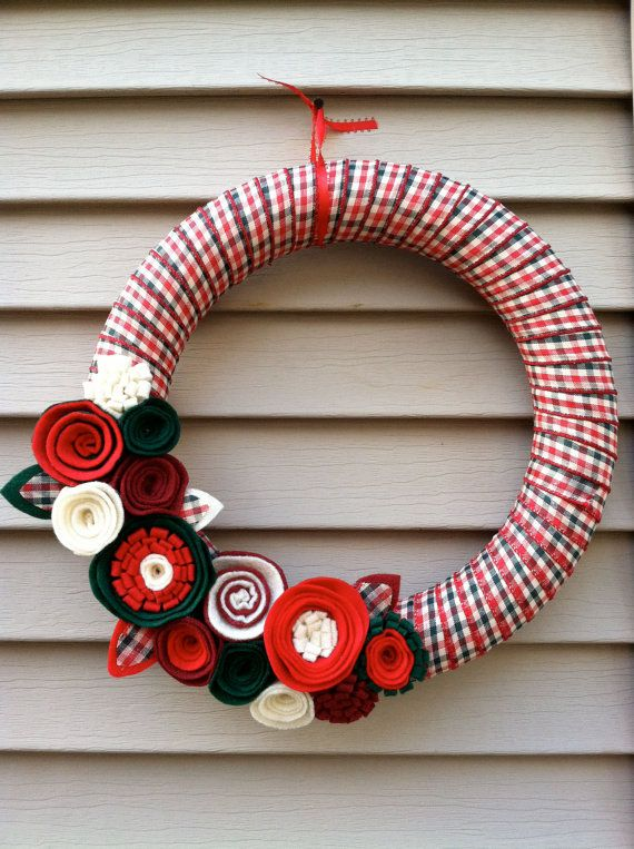 Christmas Wreath Wrapped in Ribbon decorated w/ by stringnthings