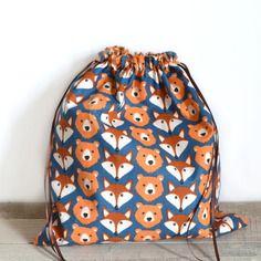 Pochon en tissu motif renards