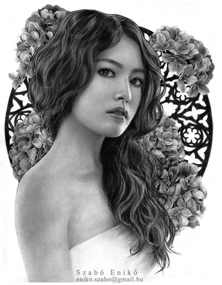 Here is my Hydrangea's Lady, i hope you like it. A/3, graphit on Faber Castell paper 2016