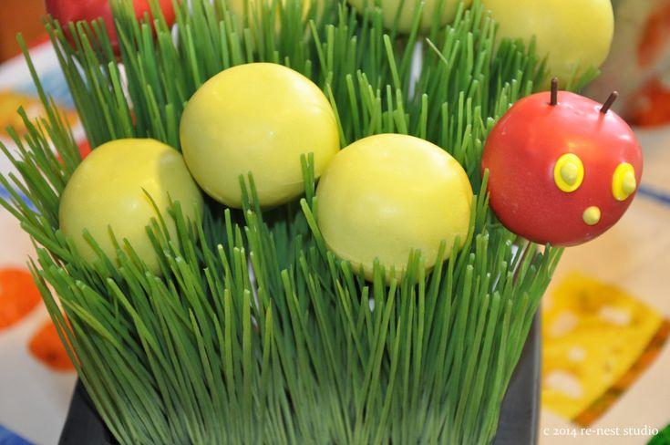 Very Hungry Caterpillar Party - love these use of cake balls in the faux grass! {click to see the whole party!}Caterpillar Parties, Cake Ball, Birthday Parties, Boys Birthday, 1St Birthday, Baby Birthday, Allison Birthday, Caterpillar Cake, Birthday Ideas