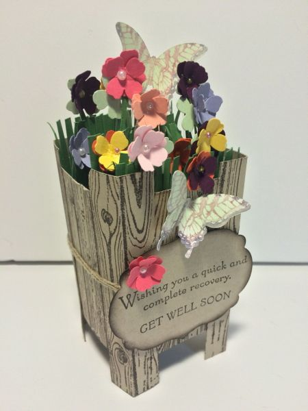 Special Get Well Card by Jean H. Hall Watched the video by Linda Bauwin and made this 2-4-6-8 planter box card. Thanks to Linda for posting the video.
