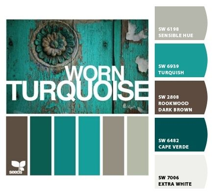 These are the exact colors I want for my bedroom  Worn Turquoise by Design Seeds, with color codes @ Do it Yourself Home Ideas