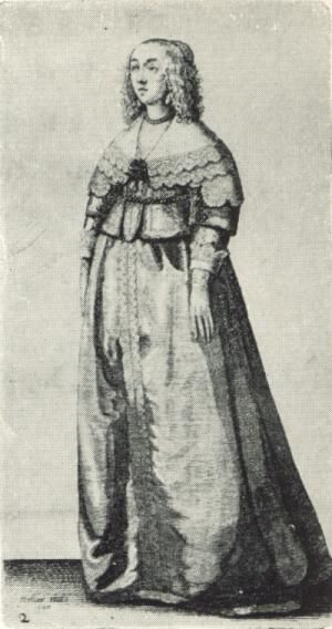 In the mid-17th century, Wenceslaus Hollar published this series of engravings depicting the costume of women in England. These images record a contemporary view of the costume of women, a subject which fascinated the artist.: Drawing 2