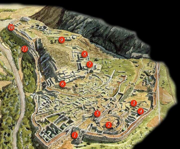 Plano de la ciudad de Micenas. Arte Micénico