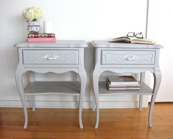 Sold Grey bedside Tables by Atelier318 on Etsy