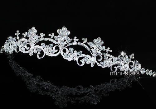 Braut-Hochzeit-Jahrgang-Stilvoll-Blume-Diadem-Benutzen-Swarovski-Kristall-T1495