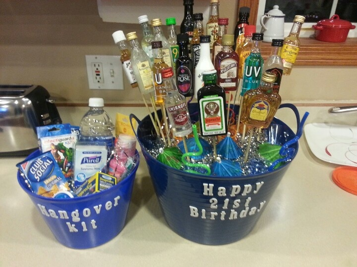 21 Mini Liqueur Bottle Bouquet And Hangover Kit