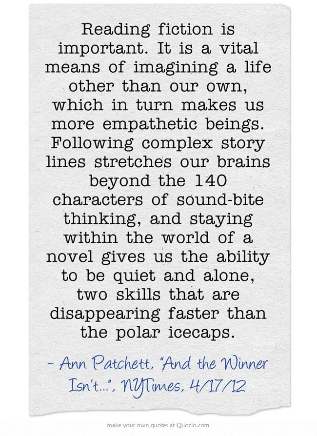 Ann Patchett on reading fiction