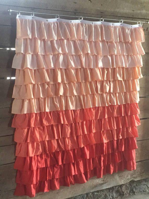 Coral Ruffle Shower Curtain Sheer Shower Curtain White Ruffle