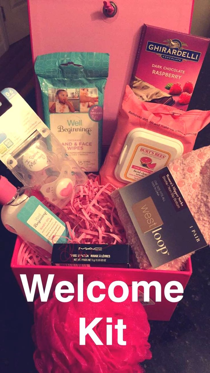 """Make a loved one feel good with a cute little """"Welcome Kit"""" gift for the hospital visit. Made this for my best friend to make her feel good and refreshed coming home. We always feel obligated to bring gifts for the baby to the hospital, but forget about the mommy who did all the work! I combined the two and it made her happy  Put it all together in one of those Hallmark boxes they sell at the drug stores like Walgreens and CVS. They usually come with the shredded paper, but you can always…"""