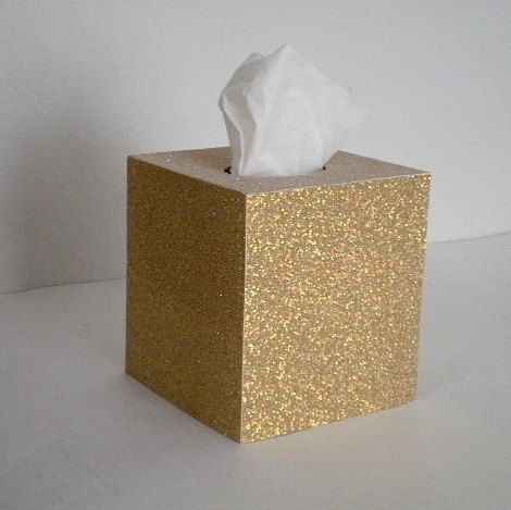 GOLD GLITTER Tissue Box Cover  Sparkling by LaurieBCreations