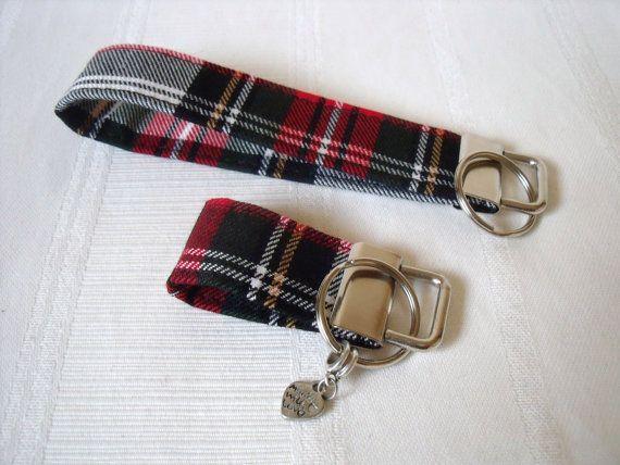 Tartan Keyfob / Wrist strap / Keyring in Stewart Tartan / Plaid Wool like fabric Key Fob / Wrist-let / Keychain Handmade in Scotland