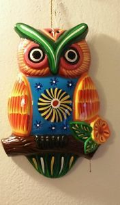 "WOW 10"" Colorful Owl Terracota Wall Decoration 