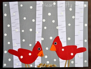 Maro's kindergarten: Winter Birds Art! Not an easy K project, but SO cute and all my kids were able to do this (a few needed help cutting the birds out)!!!
