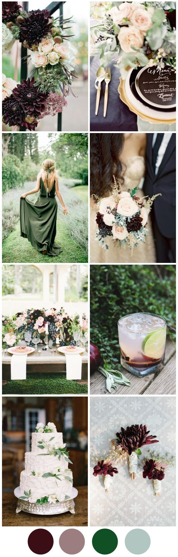 Pretty plum and sweet sage are ideal autumn wedding colours, check out our inspiration moodboard to see how it's done!
