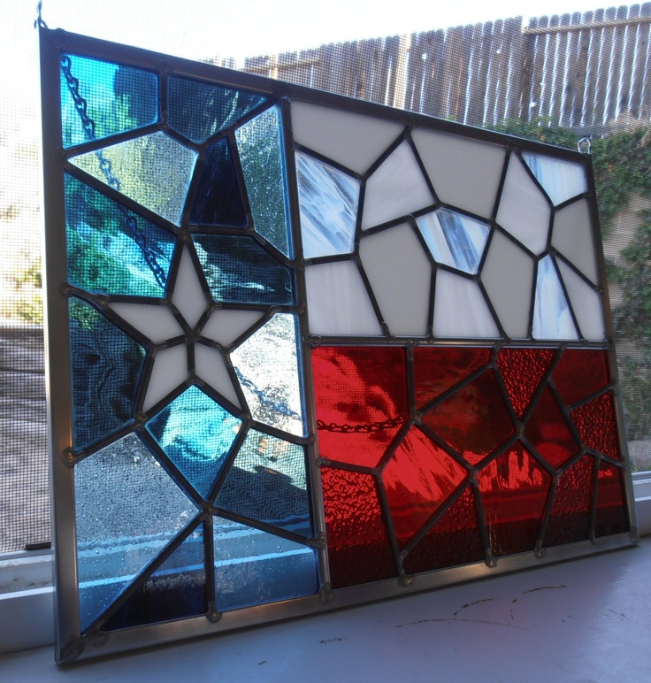 I want to make this.  I would love to take a stained glass class.  Texas Flag in TriColors of Glass. PERFECT!!