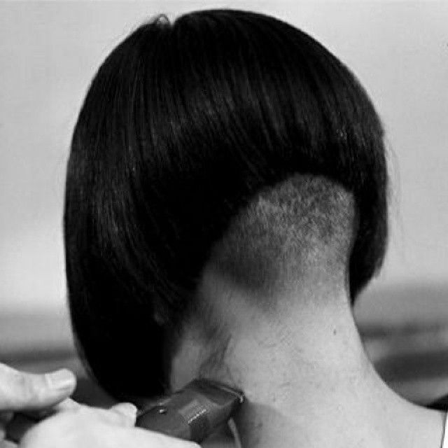 Work in progress - clippering the nape on this steep undercut a-line bob (Shared from flickr)