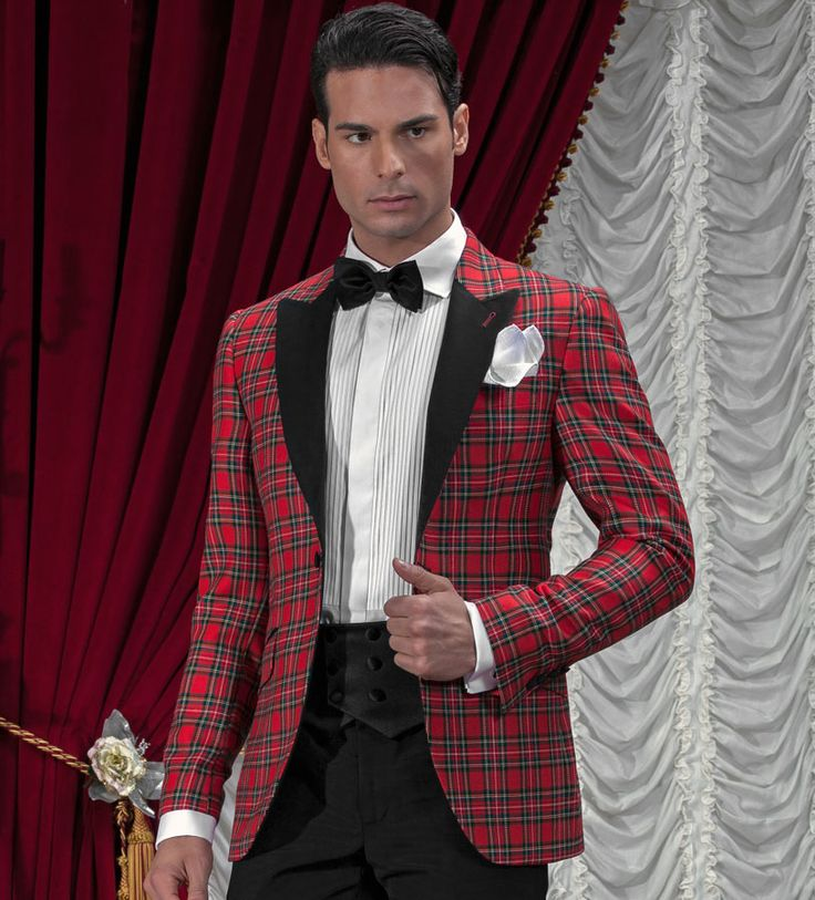Tartan Suit Jacket In 100 Wool With Black Trouser Black