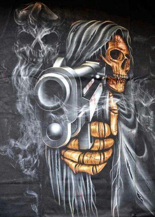 Gangster, guns , skull , evil grim reeper