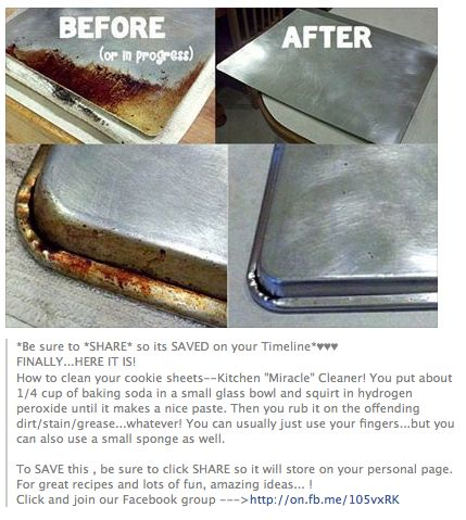 Cleaning Tip for baking pans; baking soda and peroxide. Bam! Oh my gosh . this…