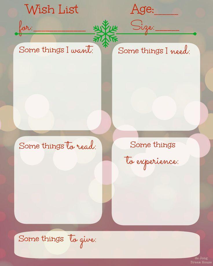 Christmas Wish List Templates The Taylor House Shopping List