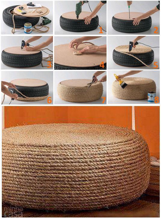 17 meilleures id es propos de pouf pneu sur pinterest for Decoration maison voiture