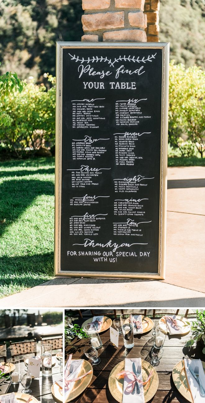We're loving this darling wedding reception seating chart sign!