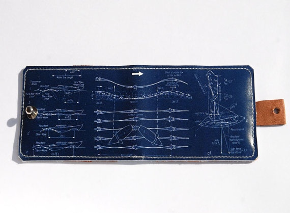 Card Holder Walet with Sail Boat Blueprint cover $25