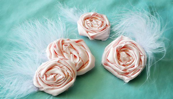 rolled fabric flower rosette hairpins with feathers