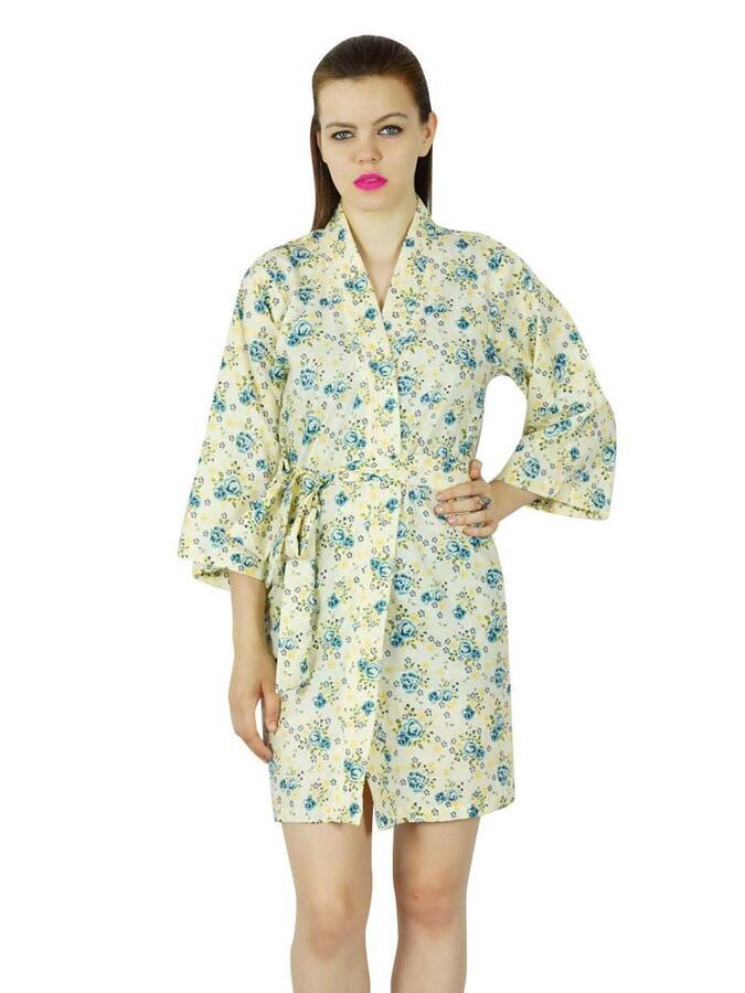 be91cfe5bc Bimba Women Floral Printed Cotton Getting Ready Short Bridesmaid Robe  Coverup Printed Cotton