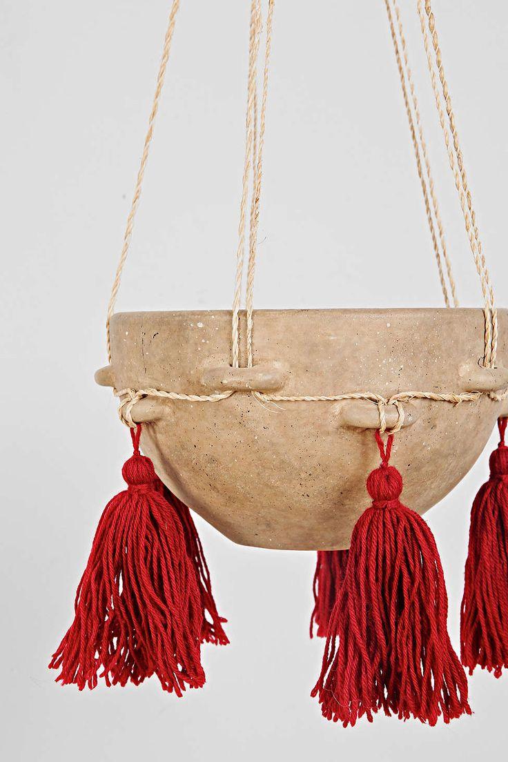 Hanging Tassel Ceramic Planter