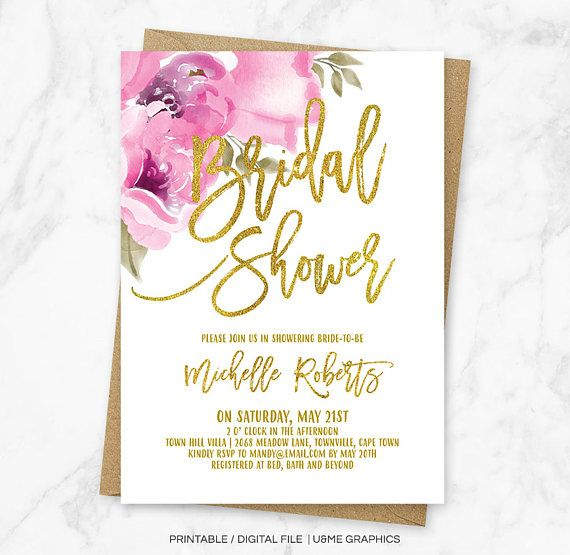Floral Bridal Shower Invitation Floral and Gold Invitation