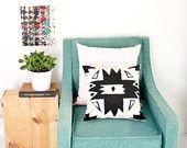 Pinnacle - black and natural, hand printed organic pillow, 16x16