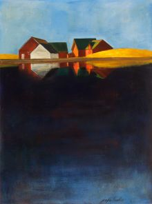 Fine Art - Painting, American, JOSEPH BARBER (American, b. 1915). Red Barns and Golden Hills bythe Water. Oil on canvas laid on board. 40 x 30 inches ...