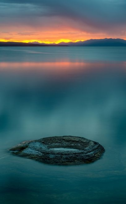 Fishing Hole at dawn at the West Thumb of Yellowstone Lake in Yellowstone National Park, Wyoming